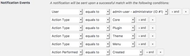 Activity Logにおける条件付メール送信の画面