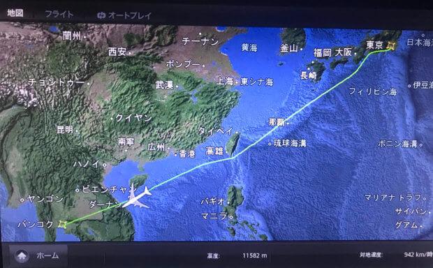 タイ航空フライト地図