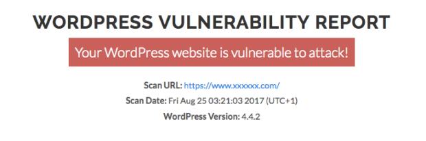 wpscans.comで脆弱性がある場合の画面
