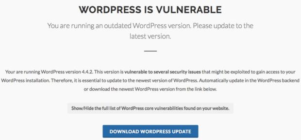wpscans.comにおけるWordPress本体の脆弱性の画面