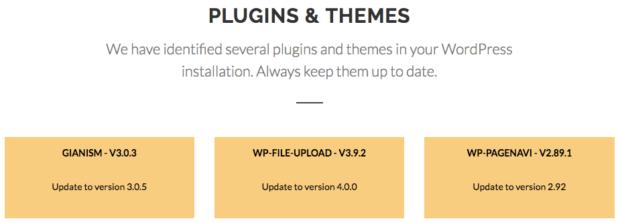 wpscans.comでプラグインとテーマんい脆弱性がある場合の画面